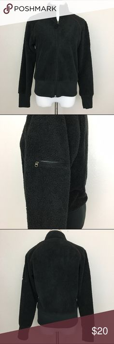 """Columbia women's fleece zipped up jacket, Black, M Columbia women's fleece jacket with zipped pocket on the left sleeve. Soft and comfy.  Great condition. No stains or rips.  Freshly washed.  Fabric is 100% polyester. Machine washable.  Size M Armpit to armpit 19"""" Length 22.5"""" Approximate only.  Pre-owned in great condition.  Stored in a smoke and pet free household.  Please see pictures for details or asks any questions before buying to avoid return! Columbia Jackets & Coats"""