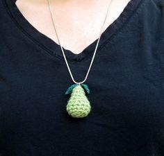 tiny crochet pear necklace charm