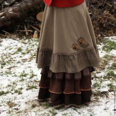 Купить Юбочка с совушками - совы, длинная юбка, юбка из вельвета, сова, с совами, коричневый, оранжевый