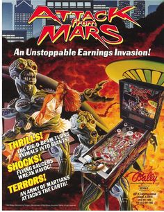 On Sale. ATTACK FROM MARS By BALLY 1995 ORIGINAL NOS PINBALL MACHINE SALES FLYER #pinballflyer #ballypinball