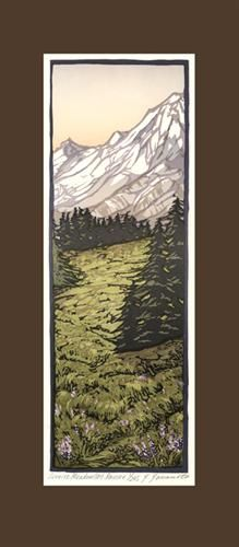 Block Prints by Yoshiko Yamamoto: Sunrise Meadows Mt Rainier Woodcut Art, Linocut Prints, Art Prints, Japanese Prints, Japanese Art, Craftsman Paintings, Art Nouveau, Art And Craft Design, Arts And Crafts Movement