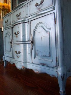 Distressed and aged French Country Buffet in a French Blue. Listed price is for the buffet only portion (though we can find a similar hutch or buffet as French Provincial Furniture, French Furniture, Paint Furniture, Furniture Makeover, Vintage Furniture, Rustic Furniture, Blue Furniture, Furniture Online, Furniture Stores