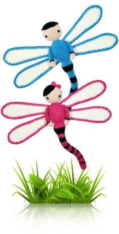 Dragonflies Dave and Lisa - crochet amigurumi pattern by Zabbez / Bas den Braver