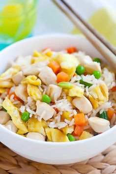 Chicken fried rice - a popular fried rice with chicken. Easy chicken fried rice recipe that is healthier & better than regular takeout and takes 20 mins | rasamalaysia.com
