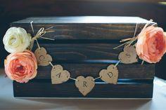 Our Wedding Card Box - DIY - Wood Burned - Espresso Stained Crate - Rustic Wedding - Barn Wedding - Card Box