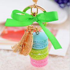 New Creative Macarons Cake Hot Key Chain Hide Rope Pendant Fashion Keychains Car Keyrings Accessories Women Bag Charm Trinket
