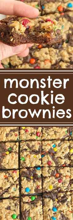 Monster Cookie Brownies start with a boxed brownie mix and then topped with a homemade monster cookie dough. Two desserts in one! Milk chocolate brownies and monster cookies loaded with peanut butter, oats, chocolate chips, and m&m's. Barres Dessert, Chocolate Brownies, Chocolate Chips, Chocolate Ganache, Monster Cookie Dough, Baking Recipes, Dessert Recipes, Bar Recipes, Beste Brownies