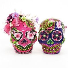 Amazon.com: Fuchsia Pink and Purple Love never Dies Skull Lover Wedding Cake Toppers A00098 Gothic Wedding Calavera Ceramic Handmade: Everything Else
