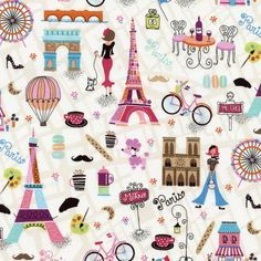 Fabric... You, Me, Oui Paris Motifs by Gail Cadden for Timeless Treasures