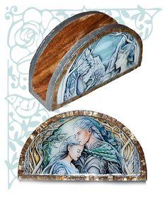Elven napkin holder fantasy kitchen storage home wooden decor