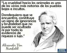 ... Alexander Von Humboldt. La crueldad hacia los animales es uno de los vicios más notorios de los pueblos bajos e incultos.