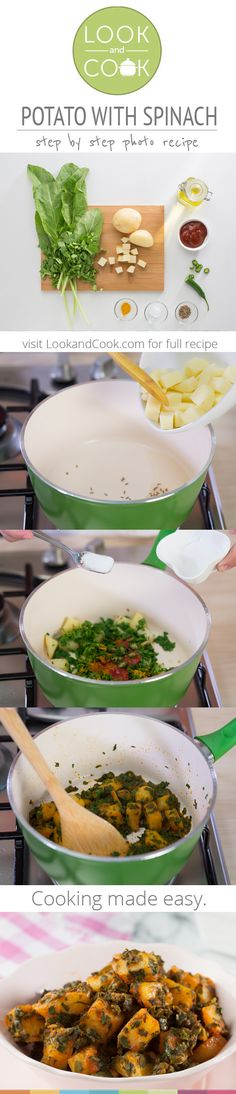POTATOES WITH SPINACH RECIPE Potato with spinach Recipe (#LC14137): Get step by step photo recipe at lookandcook.com