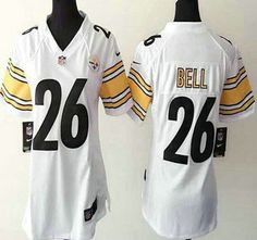 Women's Pittsburgh Steelers Jersey 26 LeVeon Bell Nike White Game Jerseys