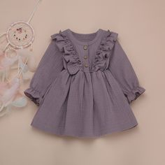 Purple Baby Toddler Ruffles Long Sleeve Cute A Line Dress - 4 5 YEARS Source by maykalakids dresses Kids Dress Wear, Toddler Girl Dresses, Little Girl Dresses, Toddler Outfits, Kids Outfits, Cute Baby Dresses, Spring Outfits, Ruffled Dresses, Infant Dresses
