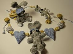 Gift set for baby - stroller toy, pacifier holder, teething toy. by PatiikCrochet on Etsy