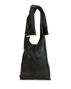 MARNI Runway Tie Deerskin Hobo Bag, Chocolate. #marni #bags #shoulder bags #leather #hobo