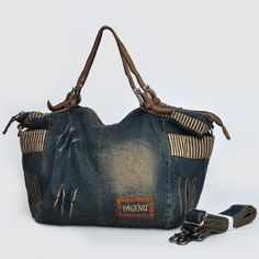 Women's Retro Casual Jean Handbag For Woman Vintage Shoulder Bag Distressed Denim Tote S225 $40.50