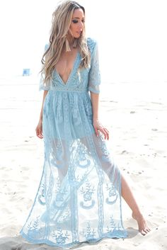43492e05e4a3 Embroidery Lace Maxi Dress - Sapphire