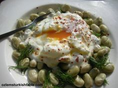 Broad (fava) beans salad with poached egg and garlic yoghurt; packed of flavor, easy and delicious