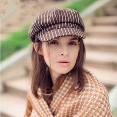 df84647c3c703 Girls red plaid newsboy cap casual style for atutumn wear
