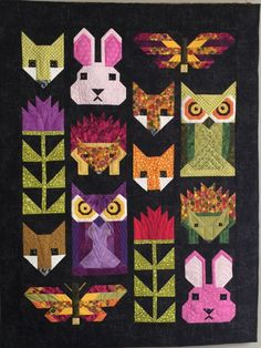 "My interpretation of Elizabeth Hartman& ""Fancy Forest"" quilt pattern. Quilt Baby, Fox Quilt, Baby Quilt Patterns, Block Patterns, Small Quilts, Mini Quilts, Quilting Projects, Quilting Designs, Elizabeth Hartman Quilts"