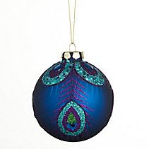 CANVAS Arctic Teal Peacock Ball Ornament, 80-mm