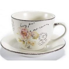 Set 4 tazzine caffè tè tazze ceramica shabby chic fiori piattino