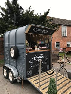Today: The big reveal of our latest project. The Coffee BOX. Having arrived on site at we were fu Coffee Box, My Coffee Shop, Coffee Carts, Horse Box Conversion, Coffee Food Truck, Mobile Coffee Shop, Mobile Coffee Cart, Cafe Shop Design, Coffee Trailer