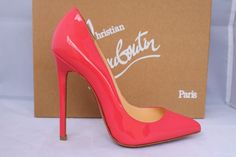 CHRISTIAN LOUBOUTIN FRAMBOISINE CORAL PATENT LEATHER PIGALLE 120 PUMPS SHOES