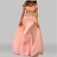 Elegant Lace Evening Dresses , A line Chiffon