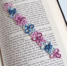 Pink and blue tatted lace bookmark