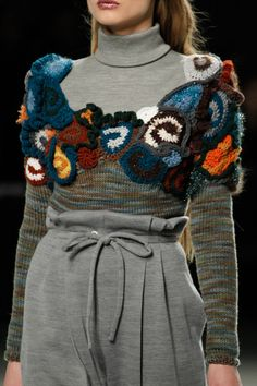 Rodarte | Fall 2014 - so good - knit in neutral colors + crocheted joke and top shoulders in vibrant colors ... stash buster!