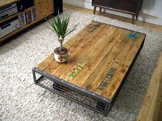 metal wood coffee table antique
