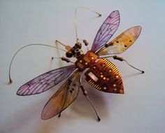 The Raindrop Circuit Board Winged Insect by DewLeaf on Etsy