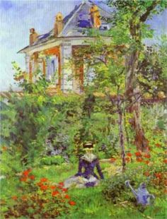 A Garden Nook at Bellevue, Eduard Manet. Manet is my favorite impressionist. Claude Monet, Edouard Manet Paintings, Contemporary Abstract Art, Modern Art, Impressionist Art, Paintings I Love, Classic Paintings, French Art, Les Oeuvres