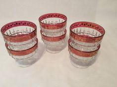 Vintage 1960 s Cranberry Crystal/Glass Dessert Dishes with Gold Trim Pedestal