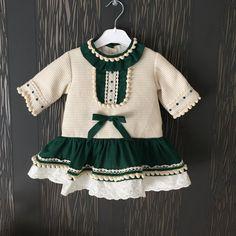 Vestido niña bebe otoño invierno verde marfil talle por pitufos