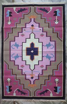 Handwoven Cotton Rug - Cotton Dhurrie Rug - Pink Rug, Southwestern Rug, Navajo Rug, Tribal Rug - 4x6 Feet