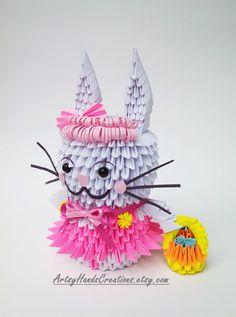 3d Origami Bunny 3d Origami Rabbit Paper di ArtsyHandsCreations