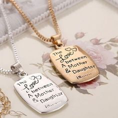"""Mom Daughter Necklace """"The Love between A Mother & Daughter"""""""