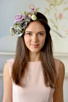 Gray purple floral crown Boho head wreath grey Roses by Vualia