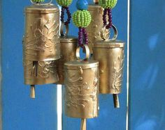 Wind chime beaded mobile with Brass bells sun by RonitPeterArt