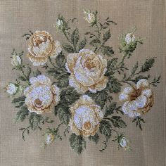 Needlepoint, Rose, Pink, Needlework, Roses, Tapestry, Punto Croce, Embroidery, Pink Roses