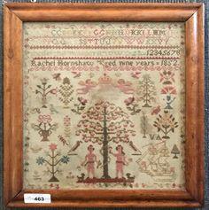 19th Century Sampler. 1852. Adam and Eve. : Lot 0463