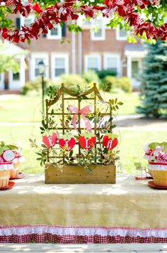 adorable strawberry party idea - this would be cute in our garden