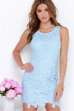 Pretty Light Blue Dress - Lace Dress - Sheath Dress - $64.00