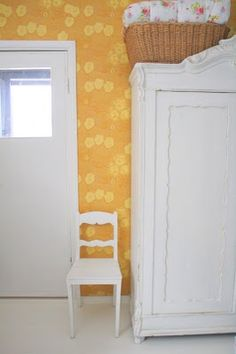 """Yellow """"Kiurujen yö"""" by Birger Kaipiainen. Cottage Interiors, Cottage Homes, Scandinavian Cottage, Painting Wallpaper, Dream Decor, Wall Colors, Home Organization, Home And Living, Living Spaces"""