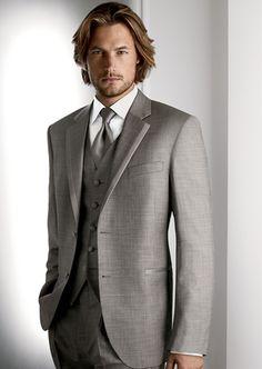 #SavviFormalwear Grey Legend by Calvin Klein - Luxury wool, 2 button, Grey, Grey Windsor Band Tie and vest