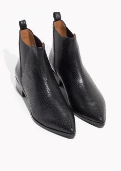 & Other Stories image 2 of Snake Embossed Leather Chelsea Boots in Snakeskin