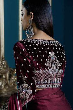 20 Latest Stylish Saree Blouse Back Neck Designs 2020 - Buy lehenga choli online Blouse Back Neck Designs, Fancy Blouse Designs, Bridal Blouse Designs, Saree Blouse Designs, Churidar, Anarkali, Lehenga Choli, Kurti, Velvet Dress Designs